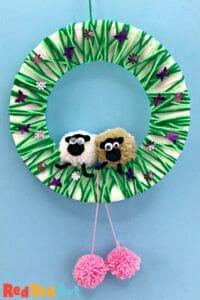 Yarn Wrapped Pom Pom Sheep Wreath