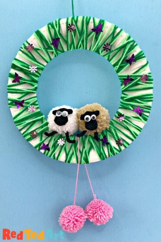Yarn Wrapped Pom Pom Sheep Wreath
