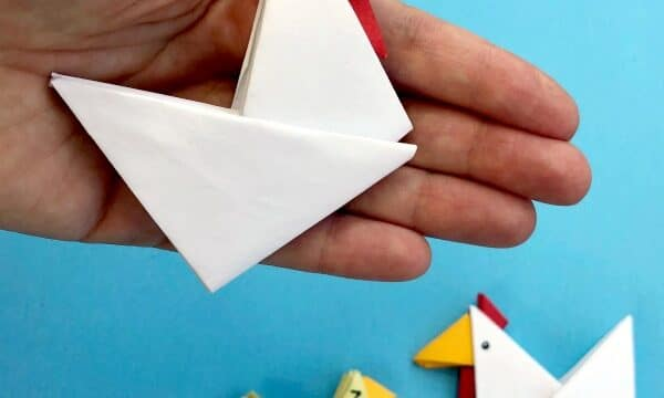 Easy paper chickens from triangles