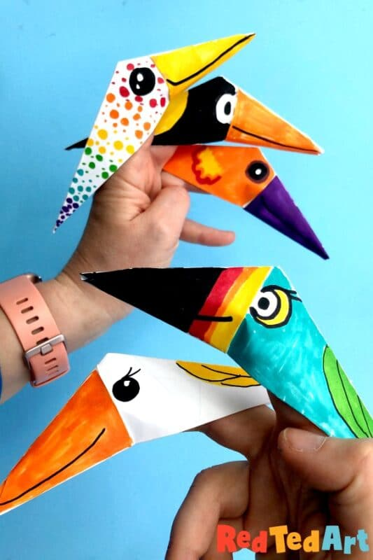 Paper Bird Finger Puppets