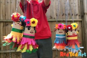 TP Roll Pinata Frida Kahlo style for Cinco the Mayo