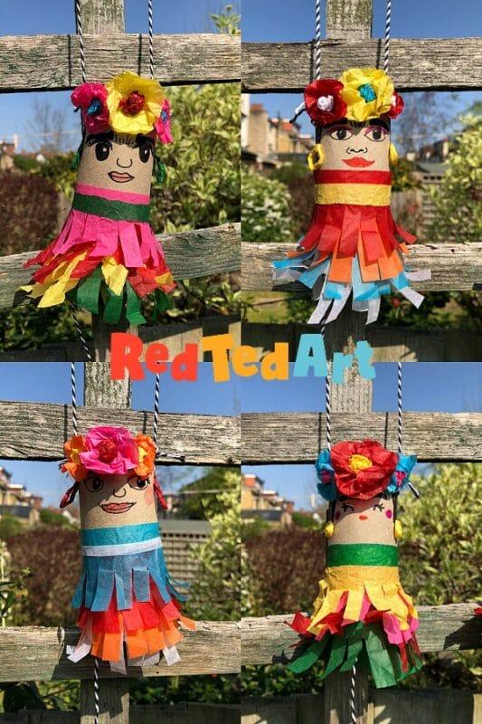 DIY TP Roll Frida Kahlo Mini Pinatas