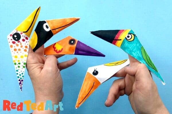Step by step instructions how to make origami a bird. | 400x600