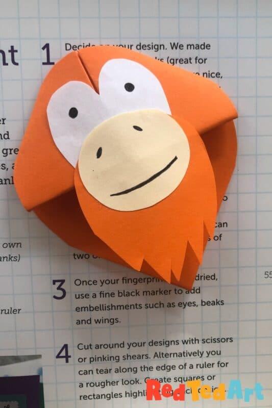 Paper Orangutan Bookmark Craft