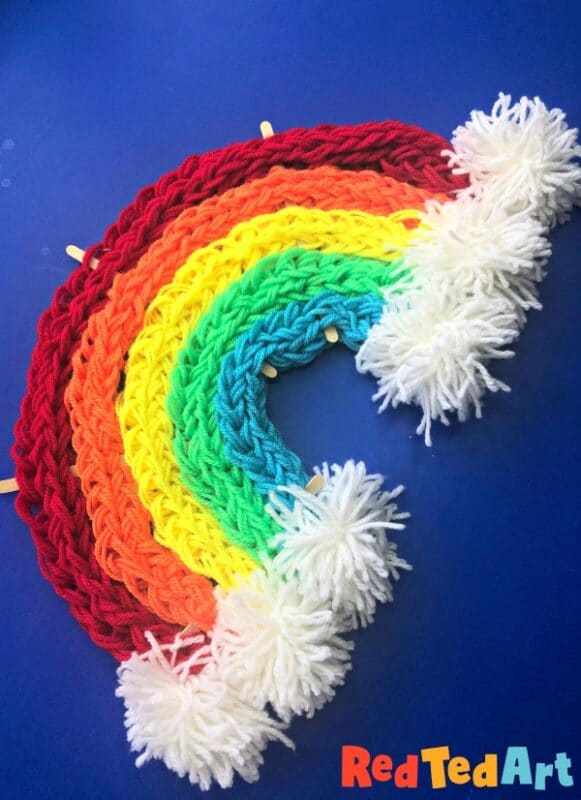 Finger knitting rainbow