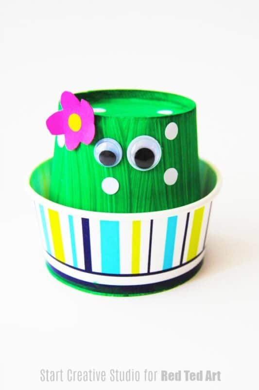 Adorable Cactus made from a paper cup