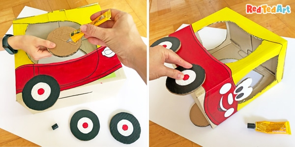 Adding the cozy coupe wheels