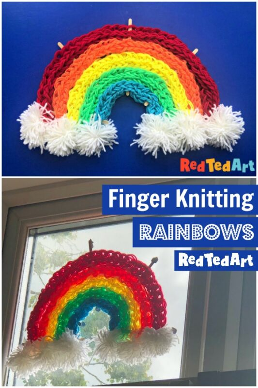 Finger Knitting Rainbows