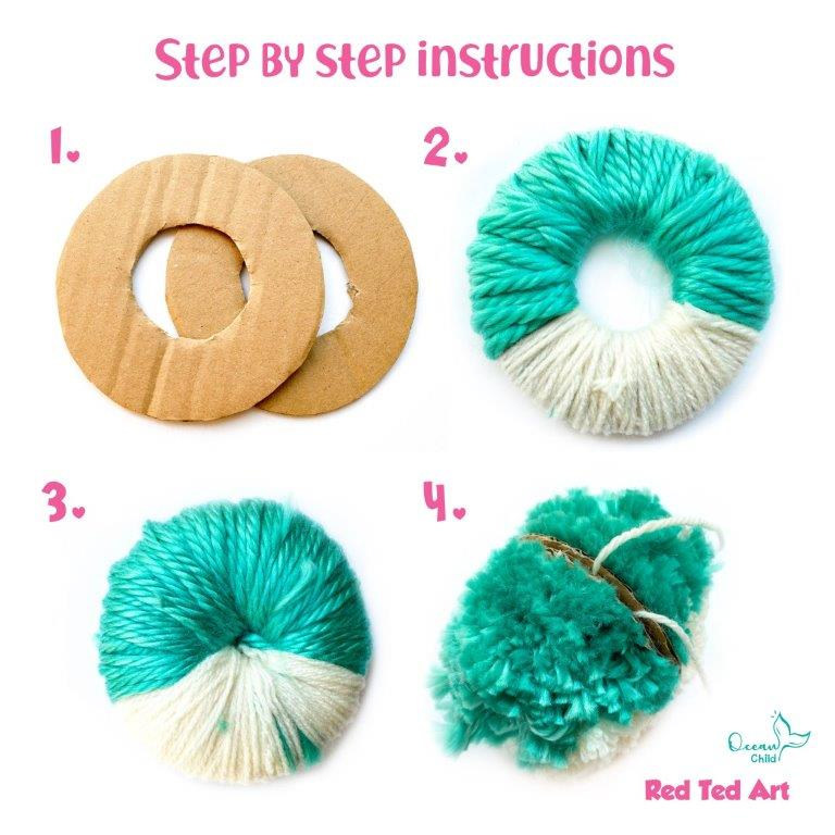 How to make a shark pom pom