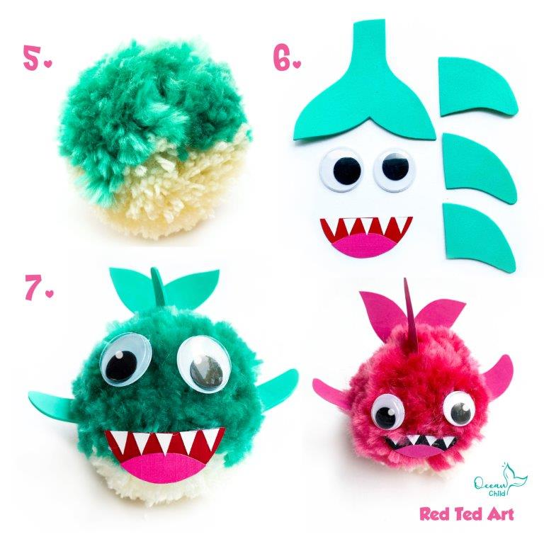 Turn your pom pom into a baby shark