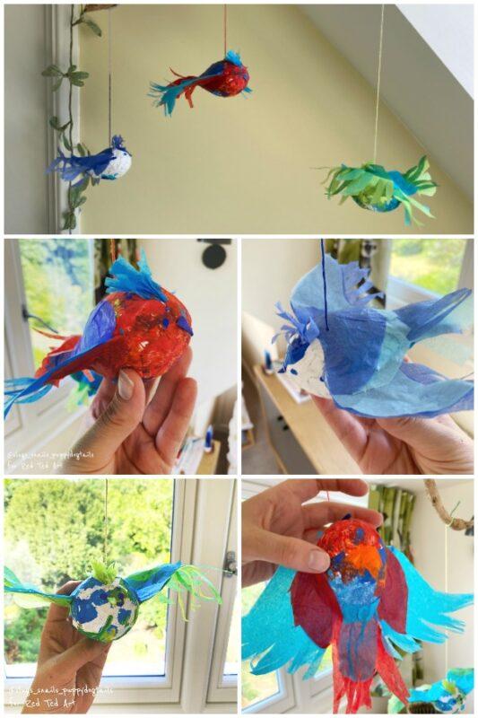 Hanging Papier Mache birds