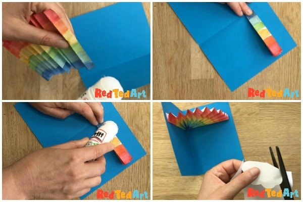securing your paper rainbow in the card