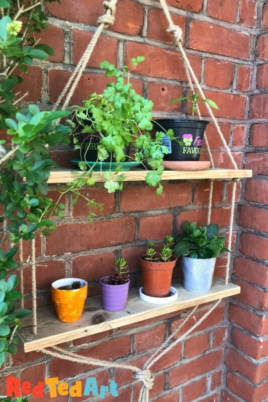 DIY Rope Shelf for the garden