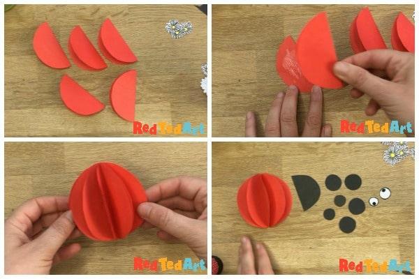 3d Paper ladybug cards