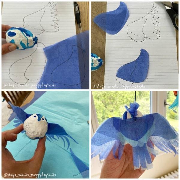 Cutting wings for papier mache birds