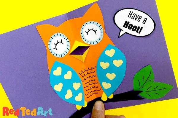 Pop up beak owl cards