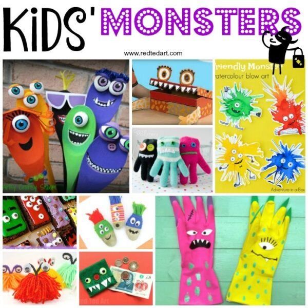 Cute Halloween Monster Crafts For Kids Red Ted Art Easy Crafts