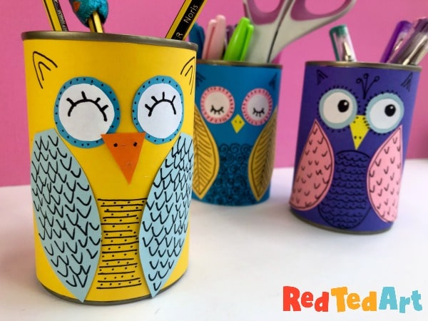 Finished DIY Tin Can Owl