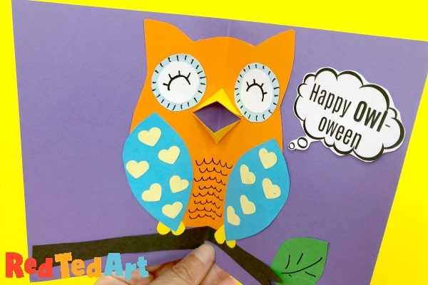 Pop up halloween owl card