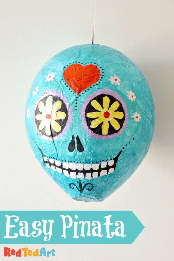 Sugar Skull Pinata DIY ready for hanging