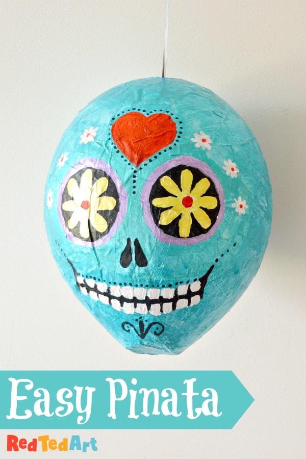 Sugar Skull Pinata DIY ready for hanging