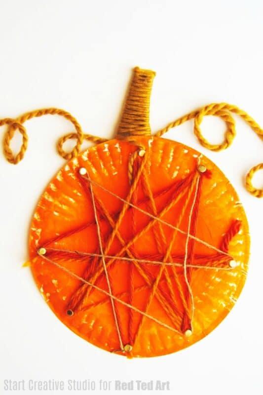 String Art Paper Plate Pumpkin