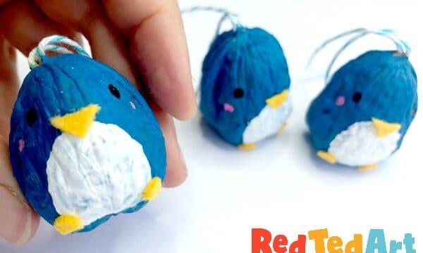 Walnut Penguin Ornaments