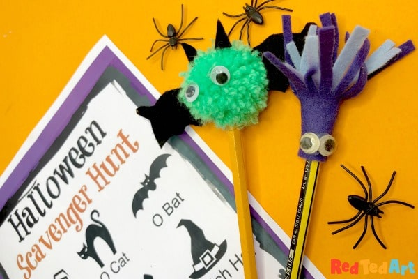Scavenger hunt with pencil toppers