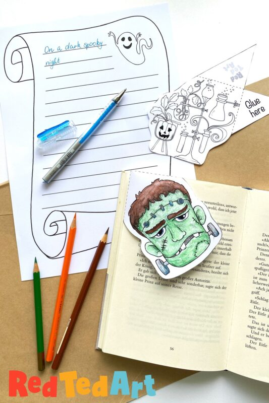 Printable Frankenstein Bookmark Corner