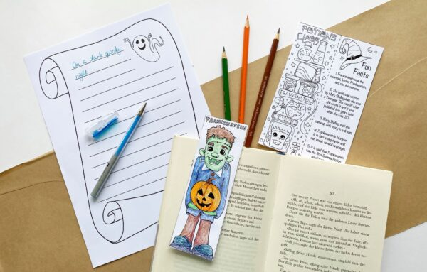 Printable Frankenstein Bookmark & Wriring Prompts