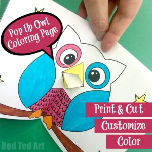 Pop Up Owl Card Coloring Page