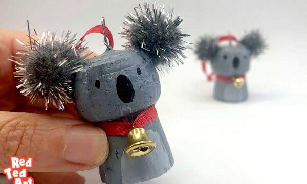 Cork Koala Christmas Ornament