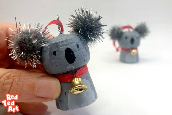 Cork Koala Christmas Ornament