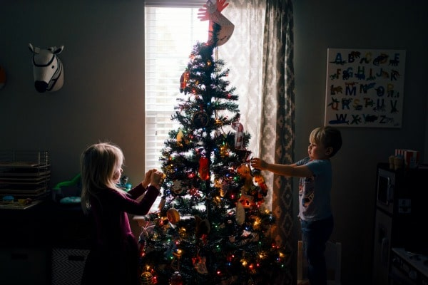 putting up a tree