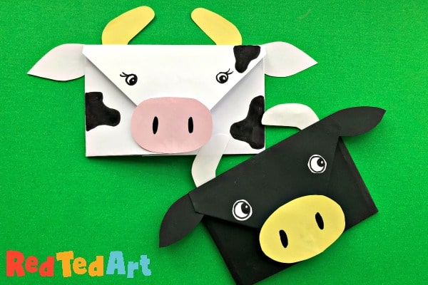 Cow origami envelopes for Farmyard lessons or Year of the Ox crafting