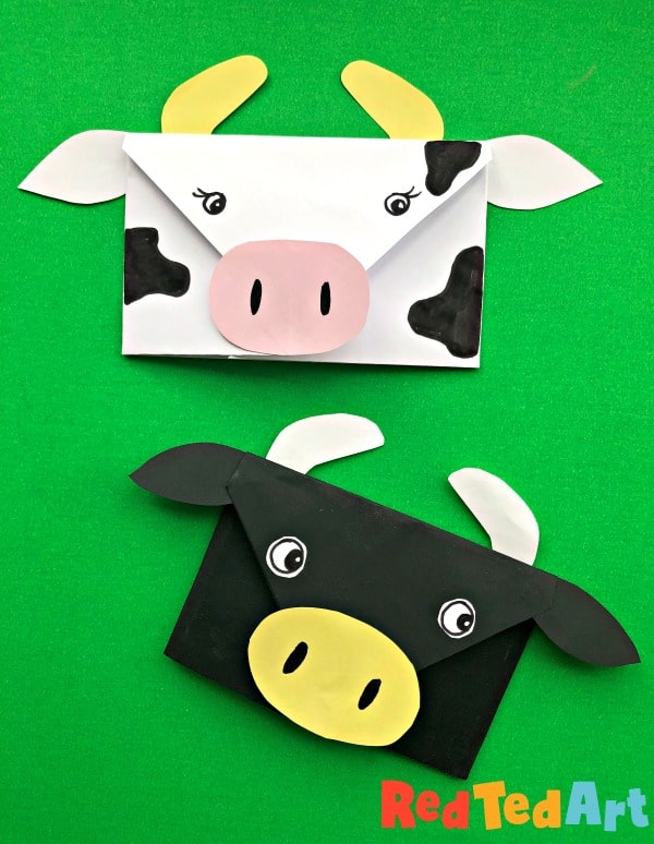 paper cow crafts for kids - envelopes