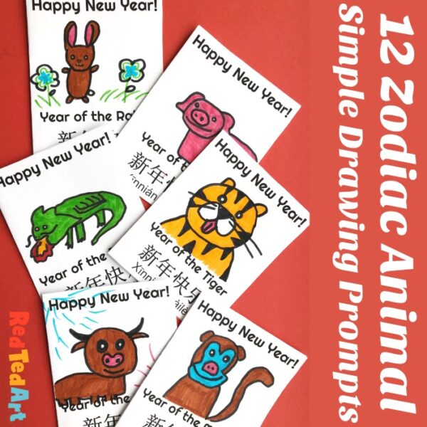 12 super simple Chinese New Year cards for kids. Use this basic template to create your own zodiac animal drawings.