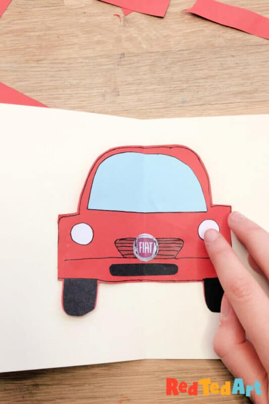 Pop up car crafts - glue down