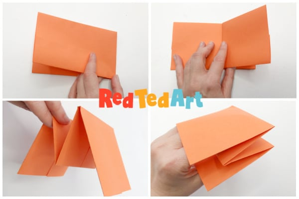fold the paper into a hand puppet