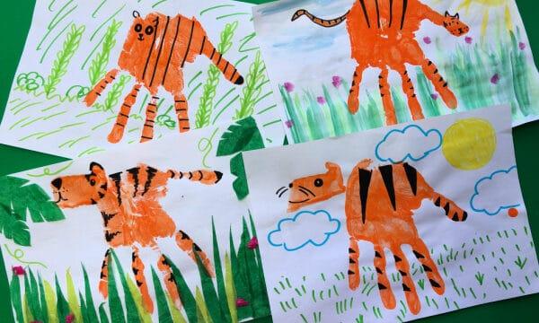 Handprint Tiger art projects for preschoolers