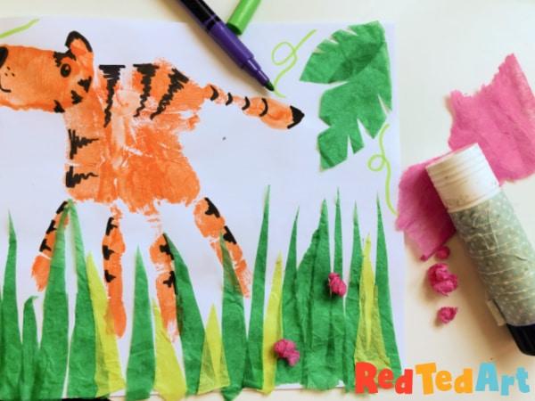 Tissue paper collage tiger