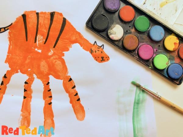 Handprint Tiger preschool