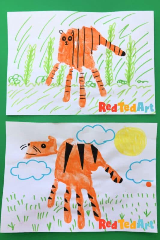 Easy Handprint Tiger for preschool