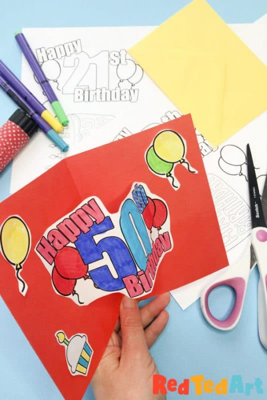 Pop Up Birthday Cards with numbers