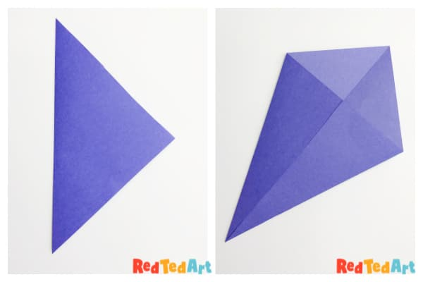 Origami whale steps 1 & 2